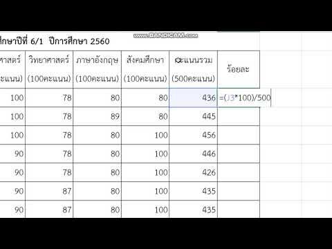 การหาร้อยละโดยใช้สูตรคำนวณ Excel l By ครูแอน