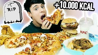 10.000 calorie challenge in one meal! fried chicken, pizza, triple ...