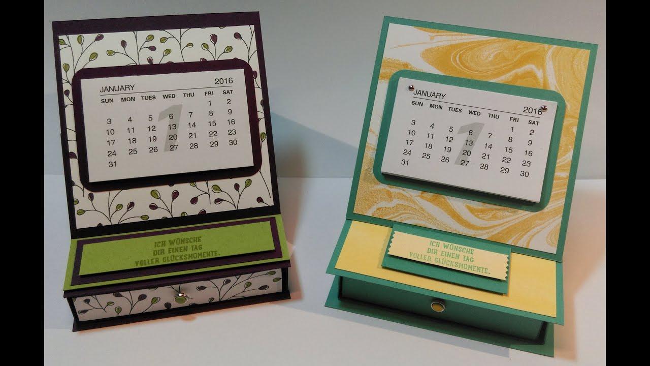 Anleitung Mini Kalender Easelcard Schubladen Box Mit