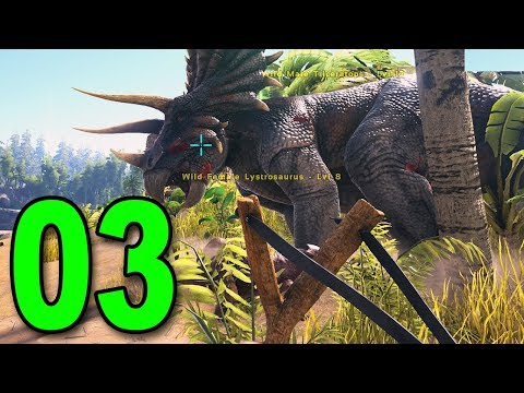 ARK: Survival Evolved - Part 3 - Slingshot vs Triceratops *BAD IDEA*