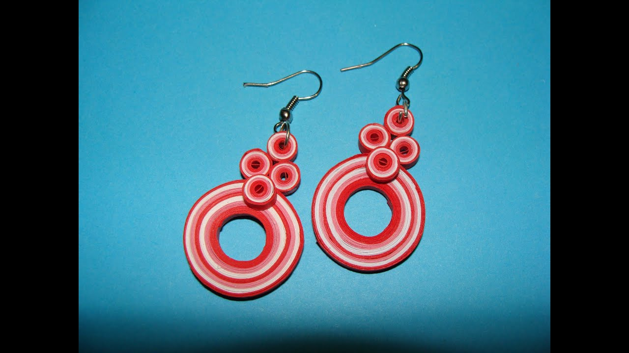 Quilling earrings how to make new design multicoloured for Quilling designs how to make
