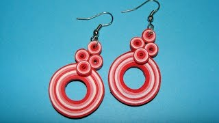 Quilling earrings:How to make new design multicoloured quilling earrings