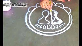 Chhath puja Special|Lotus Rangoli designs with Lakshmi pada |Big lotus Alpana designs