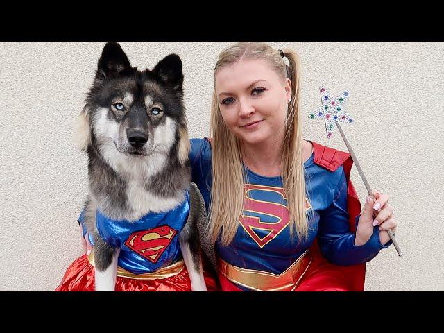 Super Girl Teaches Kakoa How To Be A Super Dog!