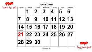 2019 Calendar with Holidays ( Calendar-365 )