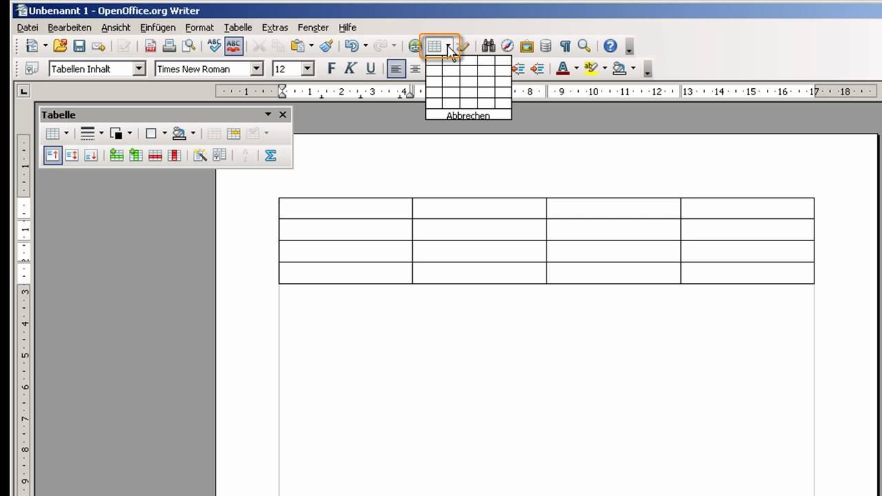 Open office writer tabelle einf gen und l schen youtube for Tabelle open office