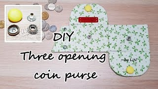DIY Three opening coin purse / Super easy to wash/How to install snap button #HandyMum