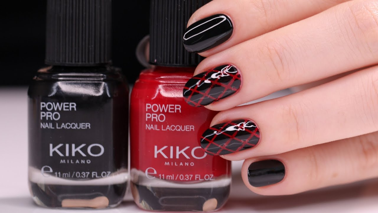 Red And Black Nails Design With Nour مناكير بلوني الأحمر والأسود مع نور Youtube