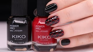 Red and Black Nails Design with Nour | مناكير بلوني الأحمر والأسود مع نور