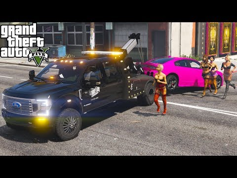 GTA 5 Real Life Mod #154 New 2020 Ford F-350 Tow Truck Repoing Cars At The Strip Club(Mad Strippers)
