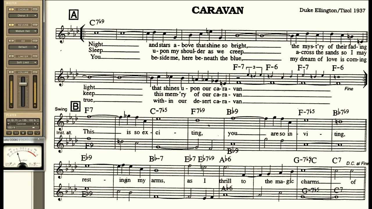 Caravan playalong for Cornet Trumpet Vocal or any Bb instrument with lyrics
