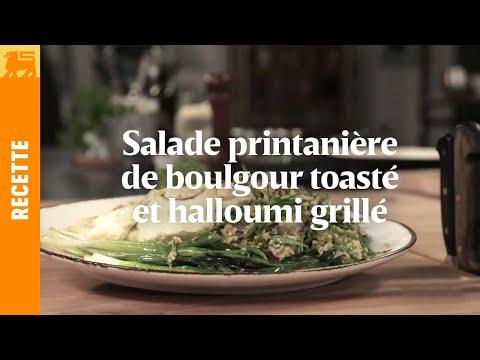 Salade printanière de boulgour toasté et halloumi grillé