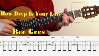 How Deep is your love - Bee Gees - fingerstyle guitar with tabs