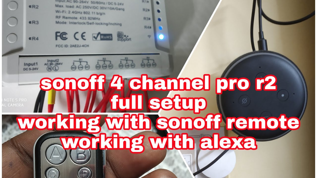Sonoff 4 channel Pro R2 full set up, working with sonoff 4 channel remote,  working with alexa