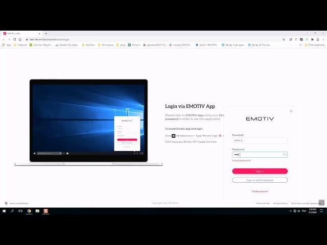 How to locate Emotiv App and login - Windows