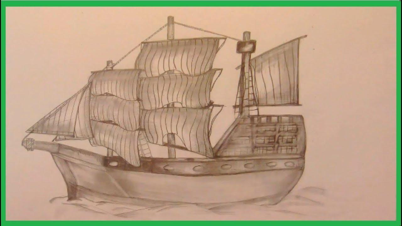 Segelschiff bleistiftzeichnung  altes Segelschiff, zeichnen im Zeitraffer (old sailing ship ...