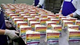 Удивительный! 🌈Мастер по изготовлению торта `` Кусок радуги '' / Корейская уличная еда