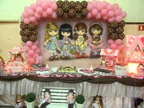 Decoração de aniversário JOLIE rosa e marrom