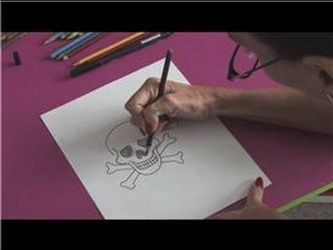 Drawing With Colored Pencils : How to Draw a Skull & Crossbones