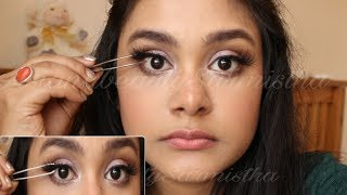 Eyelashes Tutorial   How to apply false lashes for Beginners   AsianBeautySarmistha