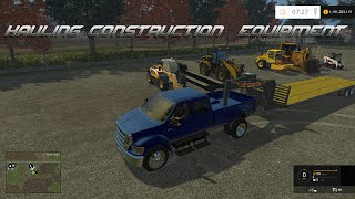 Farming Simulator 2015- Hauling Construction Equipment in Hay Wire!