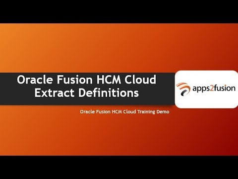 Oracle Fusion HCM Cloud Extract Definitions