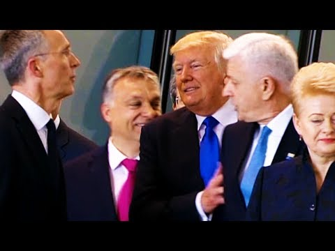 Trump ACTUALLY SHOVES Montenegro Prime Minister At NATO