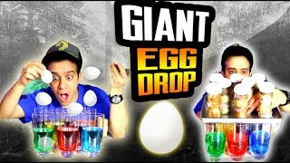 #1 BIGGEST EGG DROP CHALLENGE SCIENCE EXPERIMENT! - WORLD RECORD EGGSPERIMENT