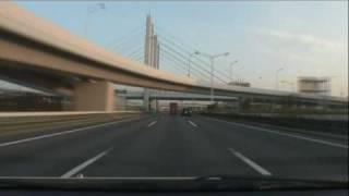 (HD) Morning drive in Tokyo 03 -早朝の首都高湾岸線(東行き編)-
