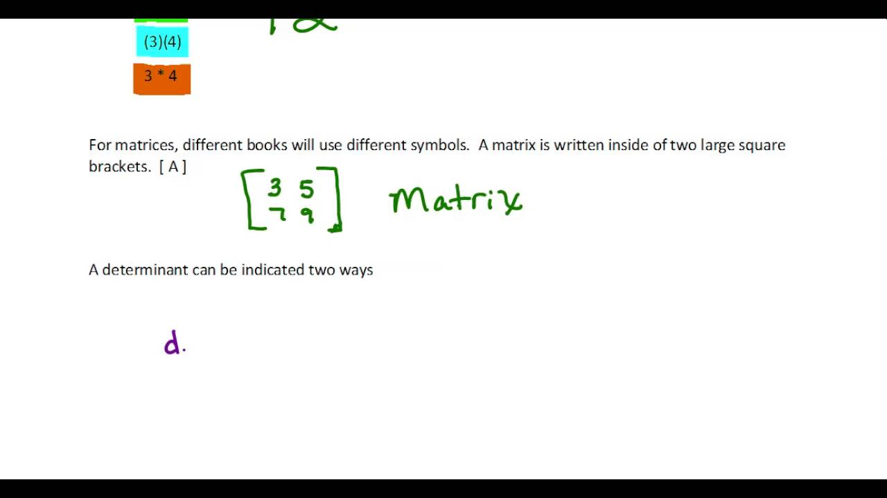Notation for determinant youtube notation for determinant biocorpaavc