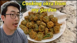 The best golden crispy fried okra plus picking fresh okra from my garden
