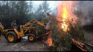 Burning a brush pile