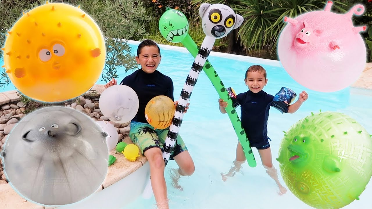 On gonfle des anti stress ballons animaux dans la pisci for Swan et neo piscine