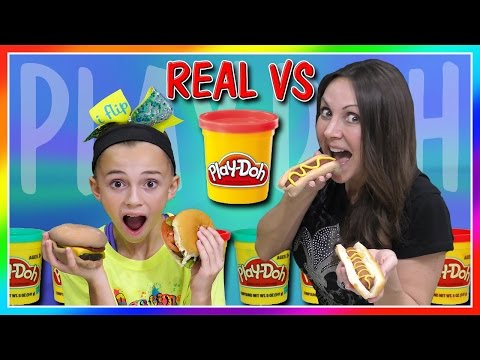 Thumbnail: REAL FOOD VS PLAY DOH FOOD CHALLENGE | DIY | We Are The Davises