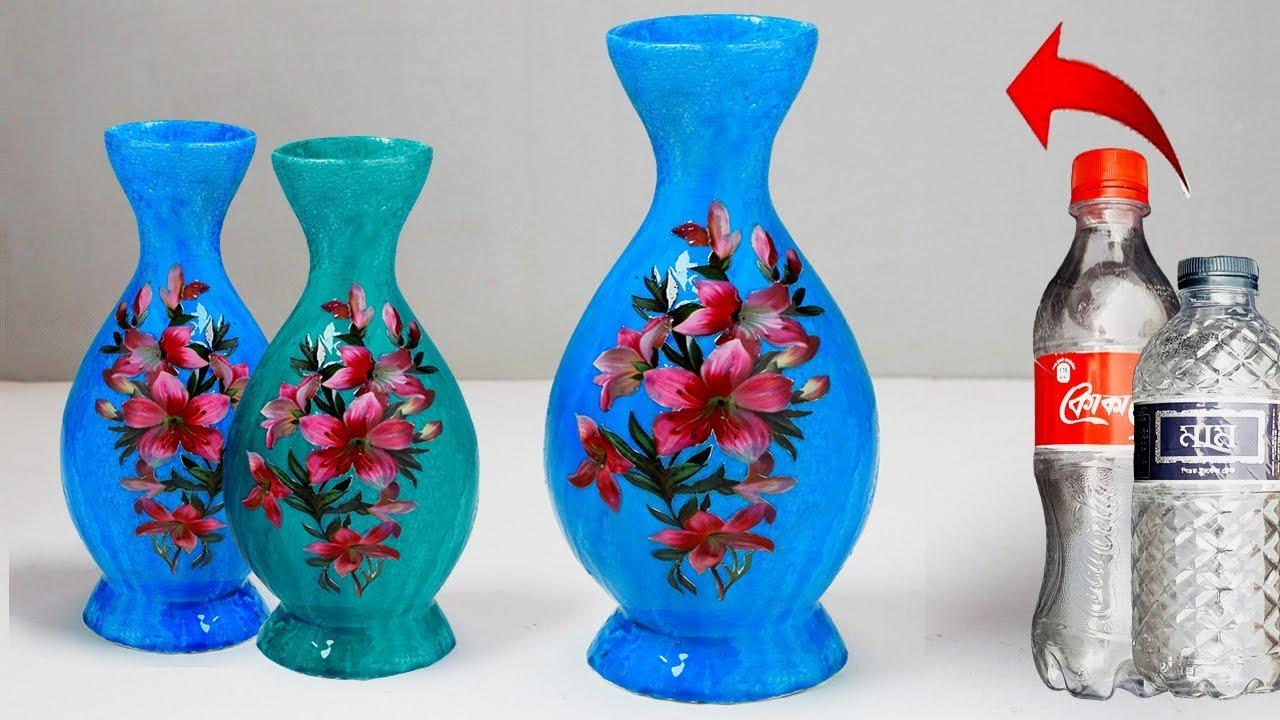 plastic bottle flower vase  easy flower vase making at