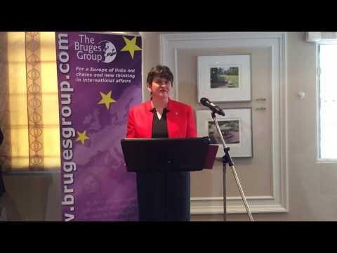 Arlene Foster addressing the Bruges Group
