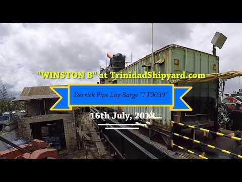 """WINSTON B"" Derrick Pipe Lay Barge dry docked at TrinidadShipyard.com"