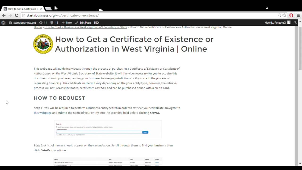 How To Get A Certificate Of Existence Or Authorization In West
