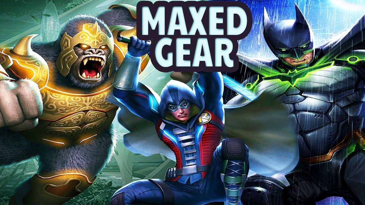 Injustice 2 Mobile  MAXED OUT GEAR  Batman, Robin, Gorilla Grodd  EPIC Looks