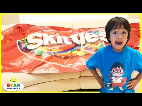 Thumbnail: Giant Candy Pretend Play Family Fun Kids chase and Hide N Seek! Learning colors with Candy