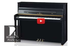66cm leg room! New Kawai K200 114cm tall acoustic piano; fine touch and tone.