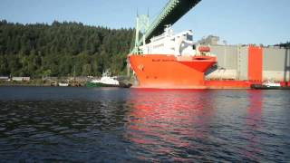 Huge ship, the MV Blue Marlin, transports enormous dry dock