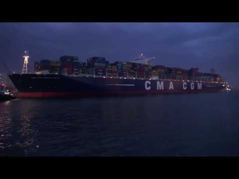 Marco Polo World Largest Container Ship in Hamburg 15th may 2013