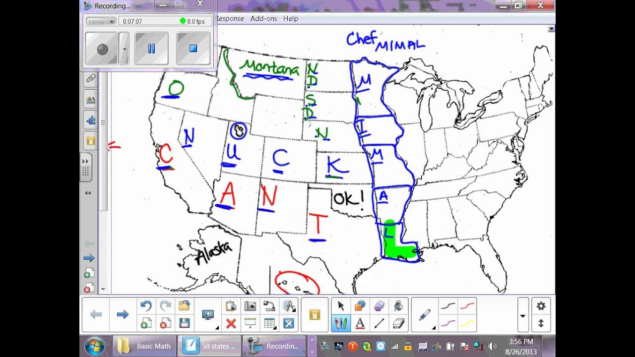 States Practice YouTube - 50 states abbreviations on map