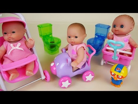 baby-doll-toy-stroller-and-toddler-car-rides-and-enjoying-picnic