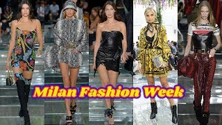 Kendall Jenner and Bella Hadid put on a racy display as they rule the runway for Versace show in Mil
