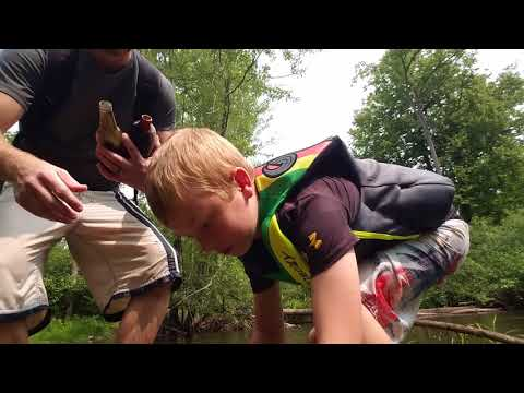 Antique Bottle Hunting In The River With My Son - Marshall Metal Detecting