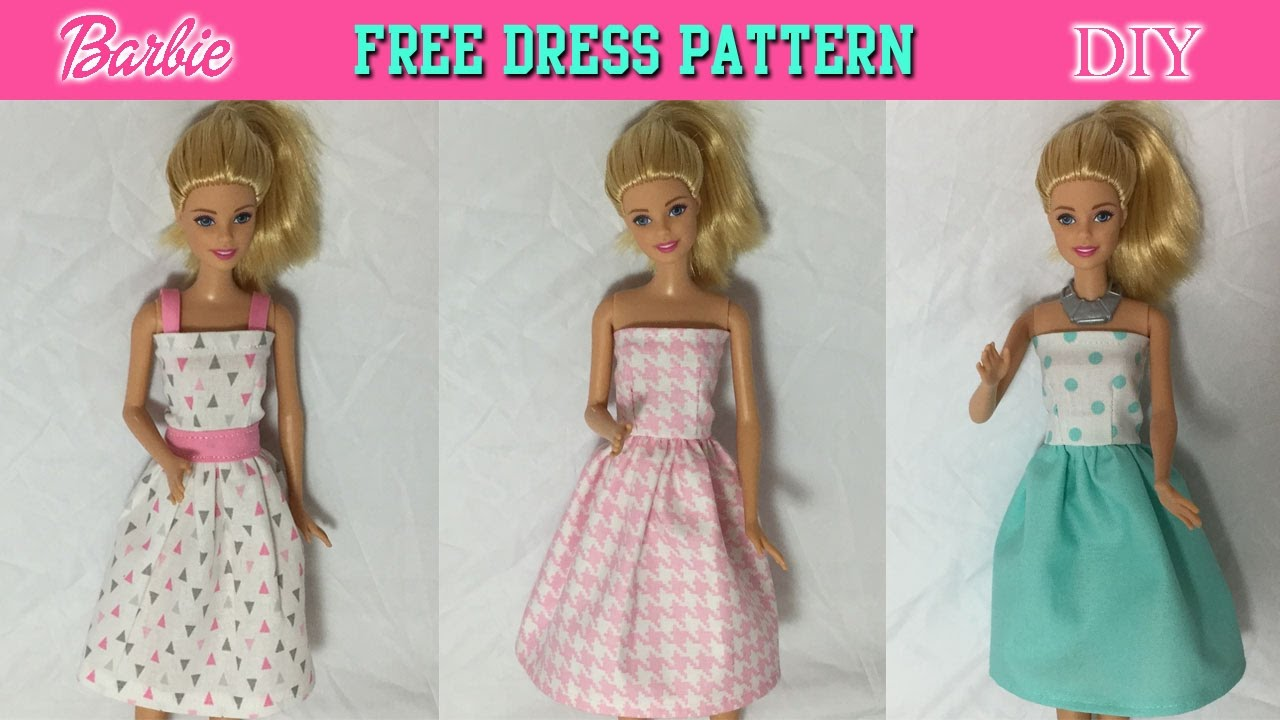 DIY Tutorial How to make Barbie Doll Dress Free Pattern - YouTube