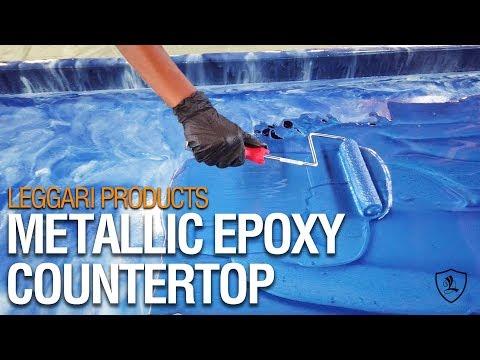Blue Metallic Epoxy Countertop | Leggari Products