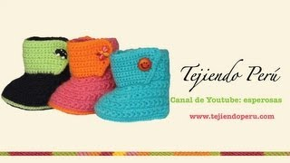 botitas tejidas en crochet para bebe de 0 a 3 meses parte 1 suela